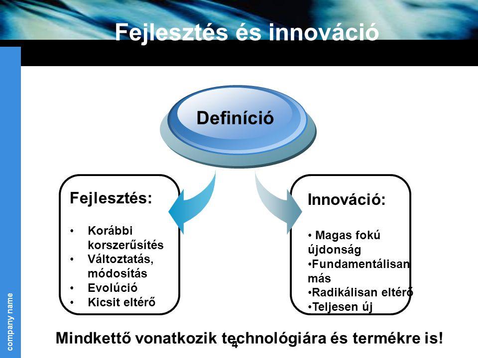 company name 4 Fejlesztés és innováció Fejlesztés: Korábbi korszerűsítés Változtatás, módosítás Evolúció Kicsit eltérő Definíció Innováció: Magas fokú