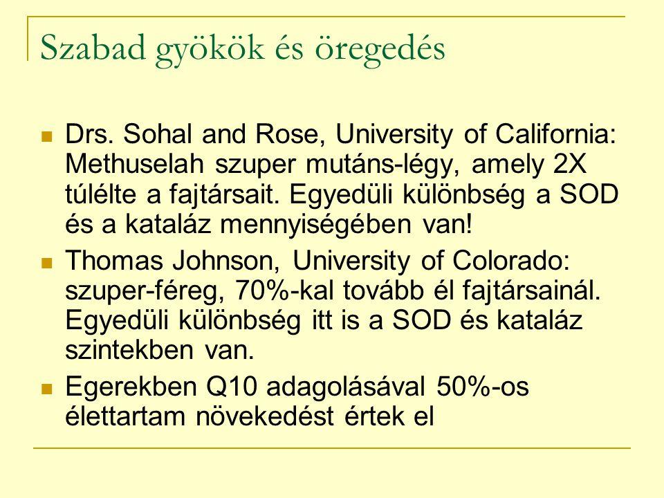 Szabad gyökök és öregedés Drs. Sohal and Rose, University of California: Methuselah szuper mutáns-légy, amely 2X túlélte a fajtársait. Egyedüli különb