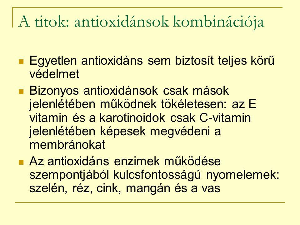 A titok: antioxidánsok kombinációja Egyetlen antioxidáns sem biztosít teljes körű védelmet Bizonyos antioxidánsok csak mások jelenlétében működnek tök