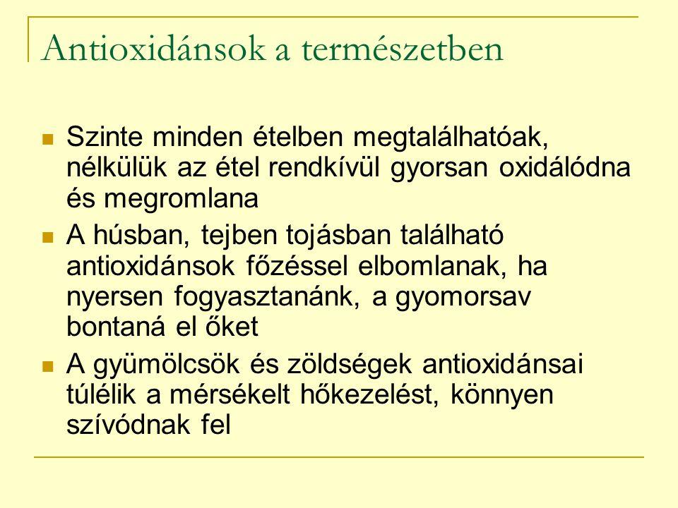 Antioxidánsok a szervezetben A szabad gyökök egyik forrása a táplálék, de életmódbeli tényezők is fokozhatják a szabadgyök-terhelést: Dohányzás Túlzott napozás Sportolás Krónikus fertőzések (Helicobacter pylori, HPV) Fokozzák az antioxidáns enzimek termelődését