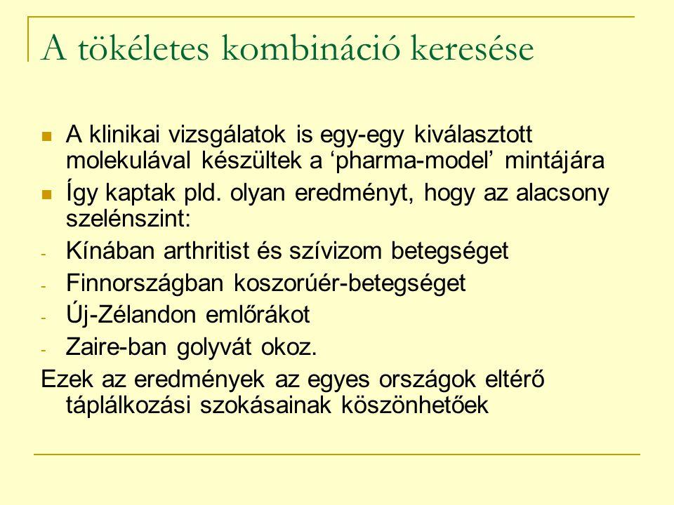 A tökéletes kombináció keresése A klinikai vizsgálatok is egy-egy kiválasztott molekulával készültek a 'pharma-model' mintájára Így kaptak pld. olyan