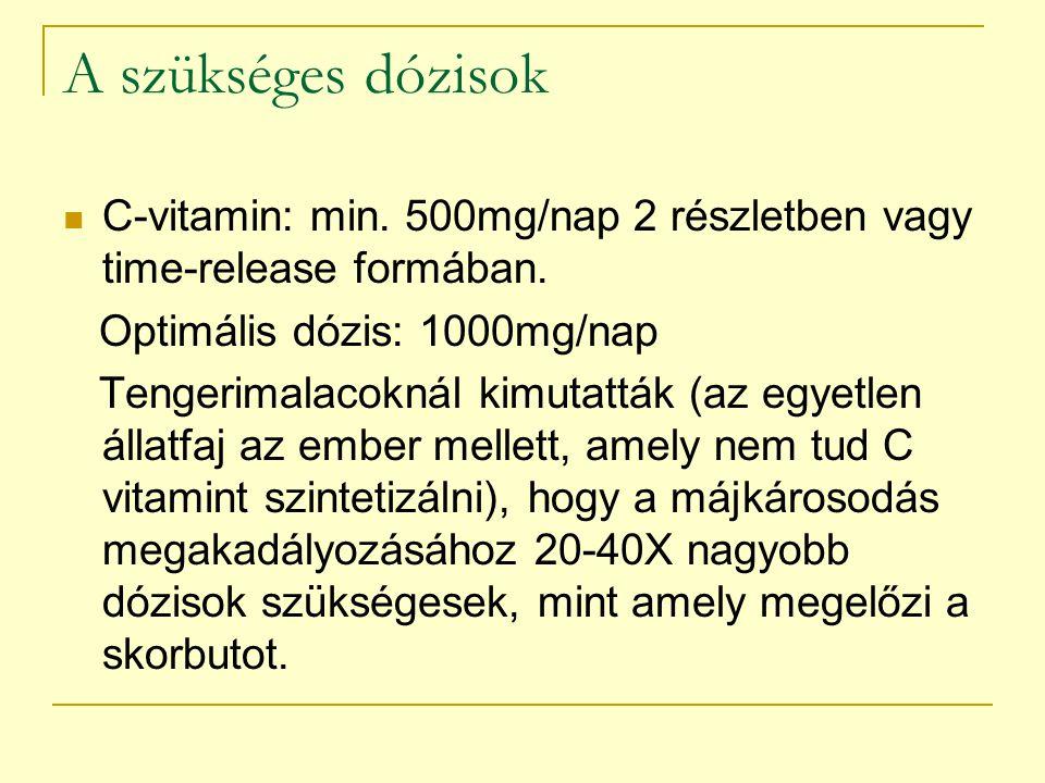 A szükséges dózisok C-vitamin: min. 500mg/nap 2 részletben vagy time-release formában. Optimális dózis: 1000mg/nap Tengerimalacoknál kimutatták (az eg