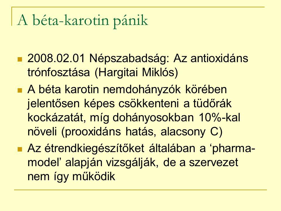 A béta-karotin pánik 2008.02.01 Népszabadság: Az antioxidáns trónfosztása (Hargitai Miklós) A béta karotin nemdohányzók körében jelentősen képes csökk