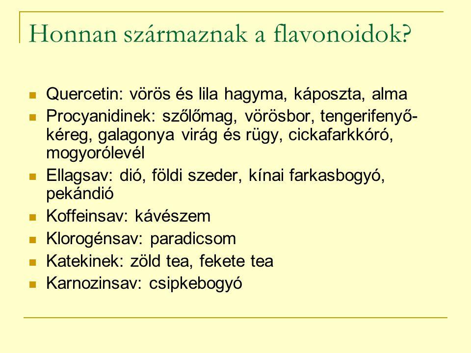 Honnan származnak a flavonoidok? Quercetin: vörös és lila hagyma, káposzta, alma Procyanidinek: szőlőmag, vörösbor, tengerifenyő- kéreg, galagonya vir