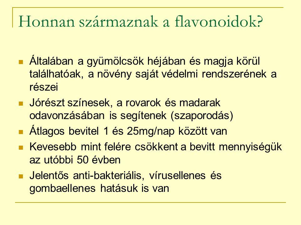 A flavonoidok élettani szerepe Fertőzés-ellenes hatás (HIV) Gyulladást keltő enzimeket blokkolnak Gátolják a hisztamin felszabadulását Erősítik a kis erek falát Növelik a SOD szintjét Immunstimuláns hatásúak Daganatellenes hatásúak Bevitt mennyiségük előrejelzi a szívbetegség és a daganatok kockázatát