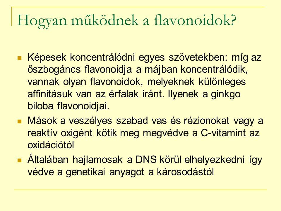 """Quercetin és procyanidinek Zutphen elderly study – 4-szeres különbség a szívbetegségek vonatkozásában, a bevitt flavonoidok 2/3-a quercetin volt (hagyma,alma) – kiválóan szívódik fel Procyanidinek: pycnogenol és szőlőmag kivonat – erős ízületi és érfal gyulladásgátló hatás, destruktív enzim blokkoló hatás """"francia paradoxon – zsíros ételek, ritka szívbetegség- vörösbor (érfal, LDL oxidáció gátlás) Galagonya procyanidinek képesek visszafejleszteni kialakult plakkokat az angiogramok alapján (Dél- Afrika)"""
