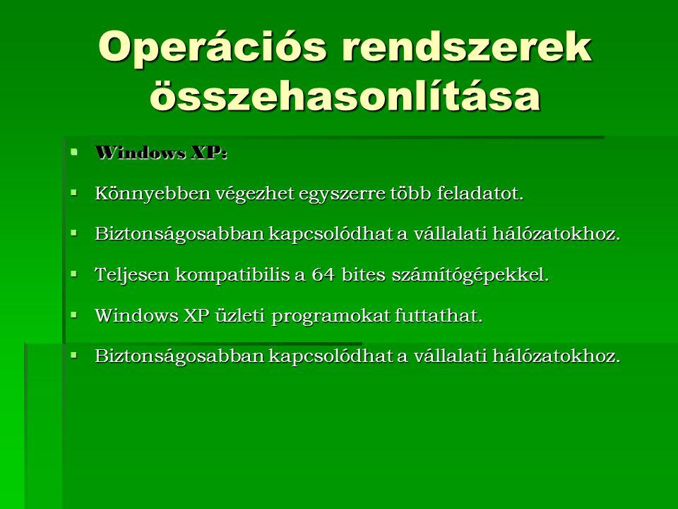 Operációs rendszerek összehasonlítása  Windows XP:  Könnyebben végezhet egyszerre több feladatot.