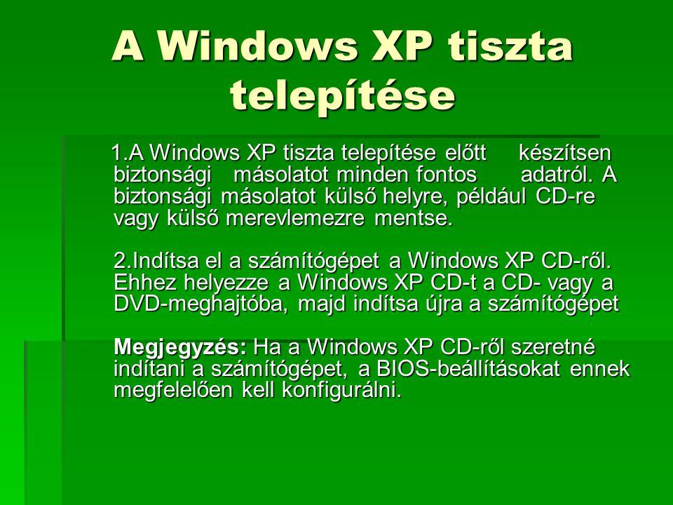 """A Windows XP tiszta telepítése 3.Amikor a képernyőn megjelenik a """"CD- ROM-ról való indításhoz nyomjon meg egy gombot üzenet, nyomjon meg egy billentyűt a számítógép Windows XP CD-ről való indításához."""
