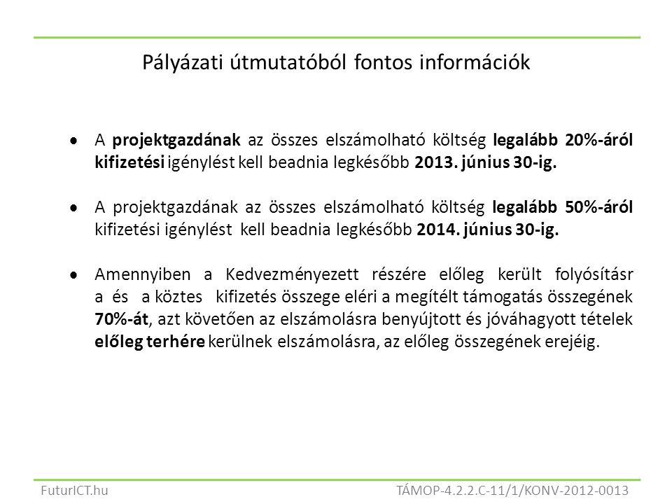 TÁMOP-4.2.2.C-11/1/KONV-2012-0013FuturICT.hu Pályázati útmutatóból fontos információk  A projektgazdának az összes elszámolható költség legalább 20%-áról kifizetési igénylést kell beadnia legkésőbb 2013.