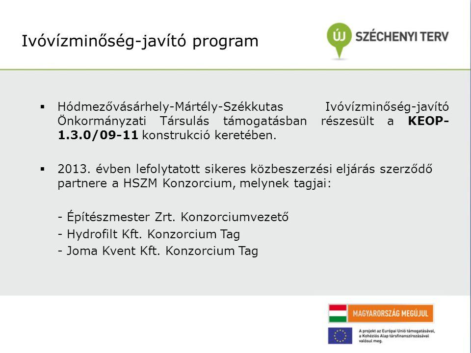  Hódmezővásárhely-Mártély-Székkutas Ivóvízminőség-javító Önkormányzati Társulás támogatásban részesült a KEOP- 1.3.0/09-11 konstrukció keretében.