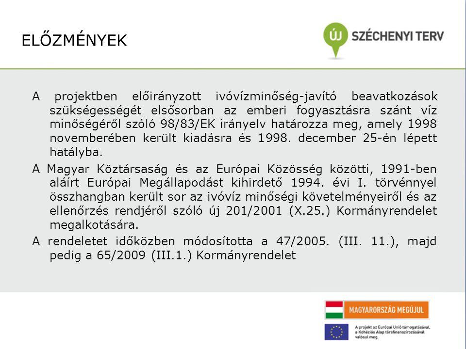A projektben előirányzott ivóvízminőség-javító beavatkozások szükségességét elsősorban az emberi fogyasztásra szánt víz minőségéről szóló 98/83/EK irányelv határozza meg, amely 1998 novemberében került kiadásra és 1998.