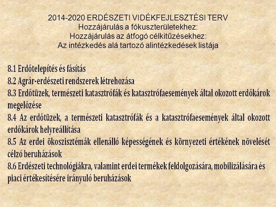 2014-2020 ERDÉSZETI VIDÉKFEJLESZTÉSI TERV Hozzájárulás a fókuszterületekhez: Hozzájárulás az átfogó célkitűzésekhez: Az intézkedés alá tartozó alintéz