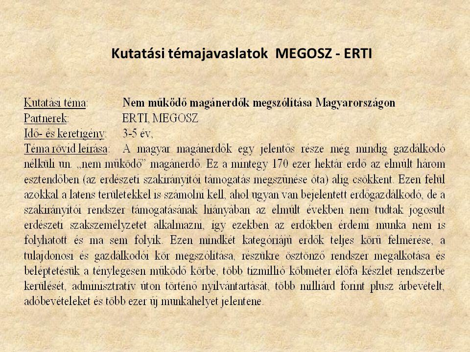 Kutatási témajavaslatok MEGOSZ - ERTI