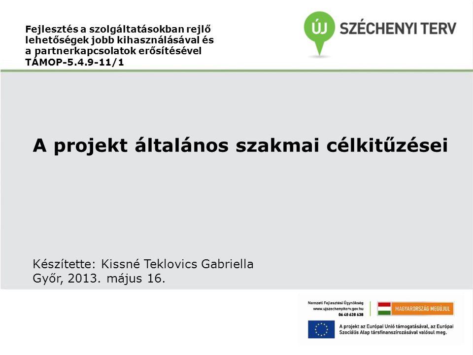 Fejlesztés a szolgáltatásokban rejlő lehetőségek jobb kihasználásával és a partnerkapcsolatok erősítésével TÁMOP-5.4.9-11/1 A projekt általános szakmai célkitűzései Készítette: Kissné Teklovics Gabriella Győr, 2013.