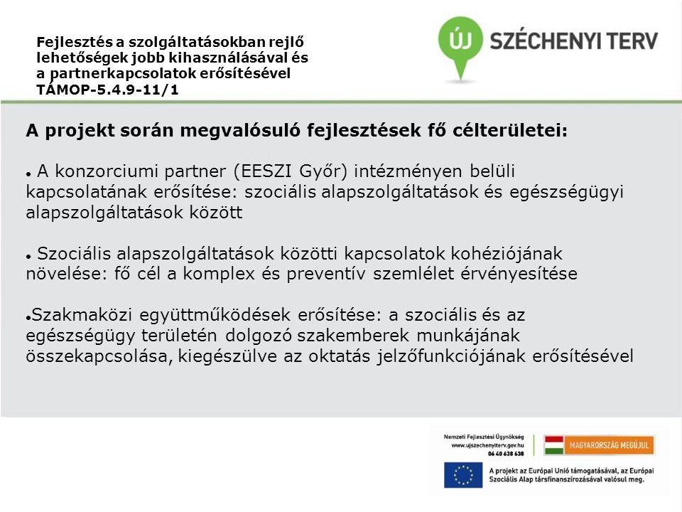 Fejlesztés a szolgáltatásokban rejlő lehetőségek jobb kihasználásával és a partnerkapcsolatok erősítésével TÁMOP-5.4.9-11/1 A projekt során megvalósuló fejlesztések fő célterületei: A konzorciumi partner (EESZI Győr) intézményen belüli kapcsolatának erősítése: szociális alapszolgáltatások és egészségügyi alapszolgáltatások között Szociális alapszolgáltatások közötti kapcsolatok kohéziójának növelése: fő cél a komplex és preventív szemlélet érvényesítése Szakmaközi együttműködések erősítése: a szociális és az egészségügy területén dolgozó szakemberek munkájának összekapcsolása, kiegészülve az oktatás jelzőfunkciójának erősítésével