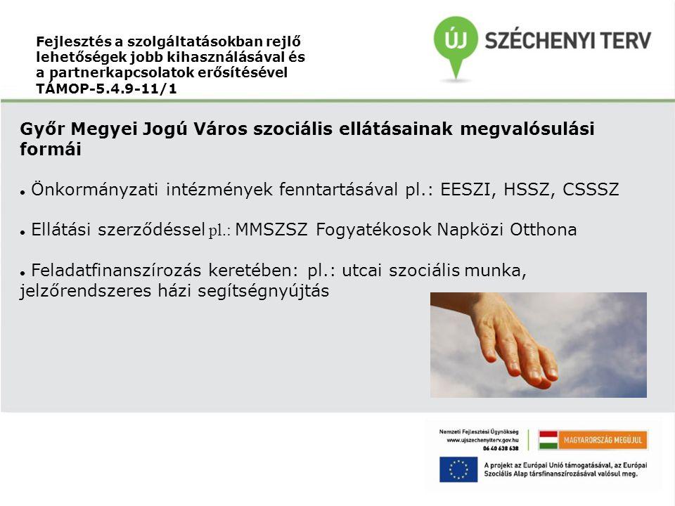 Fejlesztés a szolgáltatásokban rejlő lehetőségek jobb kihasználásával és a partnerkapcsolatok erősítésével TÁMOP-5.4.9-11/1 Győr Megyei Jogú Város szociális ellátásainak megvalósulási formái Önkormányzati intézmények fenntartásával pl.: EESZI, HSSZ, CSSSZ Ellátási szerződéssel pl.: MMSZSZ Fogyatékosok Napközi Otthona Feladatfinanszírozás keretében: pl.: utcai szociális munka, jelzőrendszeres házi segítségnyújtás