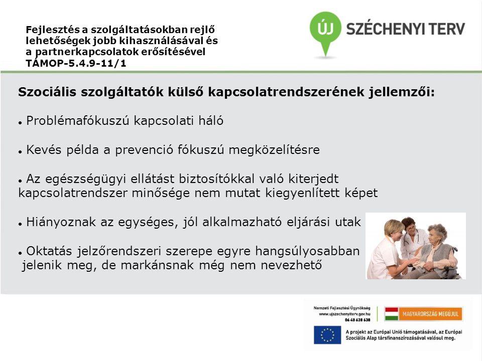 Fejlesztés a szolgáltatásokban rejlő lehetőségek jobb kihasználásával és a partnerkapcsolatok erősítésével TÁMOP-5.4.9-11/1 Szociális szolgáltatók kül