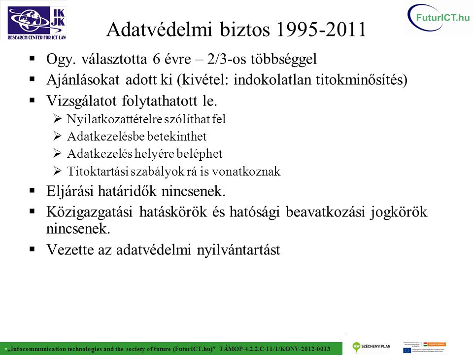 """Infocommunication technologies and the society of future (FuturICT.hu) TÁMOP-4.2.2.C-11/1/KONV-2012-0013 16 Adatvédelmi biztos 1995-2011  Ogy."