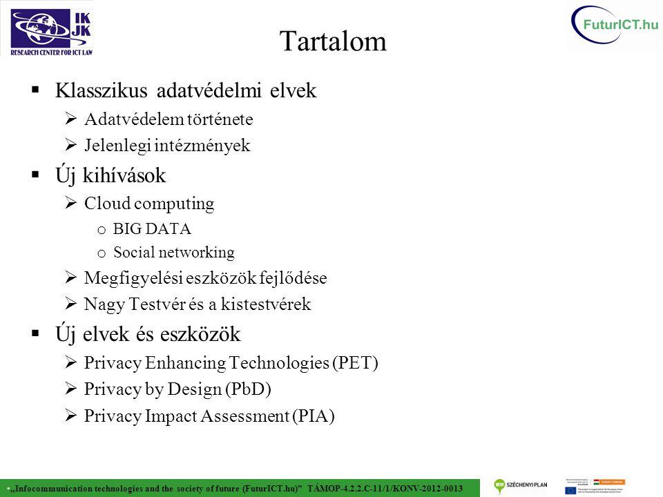 """""""Infocommunication technologies and the society of future (FuturICT.hu) TÁMOP-4.2.2.C-11/1/KONV-2012-0013 Történet  1981 Európa Tanács adatvédelmi egyezménye  95/46/EK sz."""