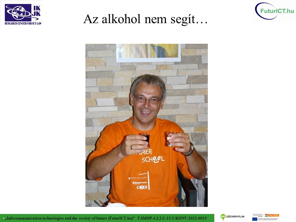 """Infocommunication technologies and the society of future (FuturICT.hu) TÁMOP-4.2.2.C-11/1/KONV-2012-0013 Az alkohol nem segít…"