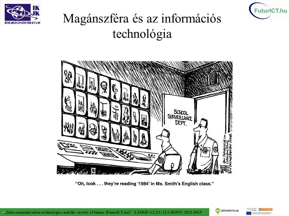 """""""Infocommunication technologies and the society of future (FuturICT.hu) TÁMOP-4.2.2.C-11/1/KONV-2012-0013 Adatvédelem garanciái  Célhozkötöttség  Személyes adat csak meghatározott célból kezelhető  Arányosság  Csak a cél megvalósulásához elengedhetetlen adat kezelhető, a szükséges mértékben és ideig  Adatintegráció tilalma  Tilos a különböző helyen, eltérő célra felvett adatkezelések összekapcsolása  Adattovábbítás korlátozottsága  Az adattovábbítás az érintett hozzájárulásán vagy törvényi felhatalmazáson alapul."""