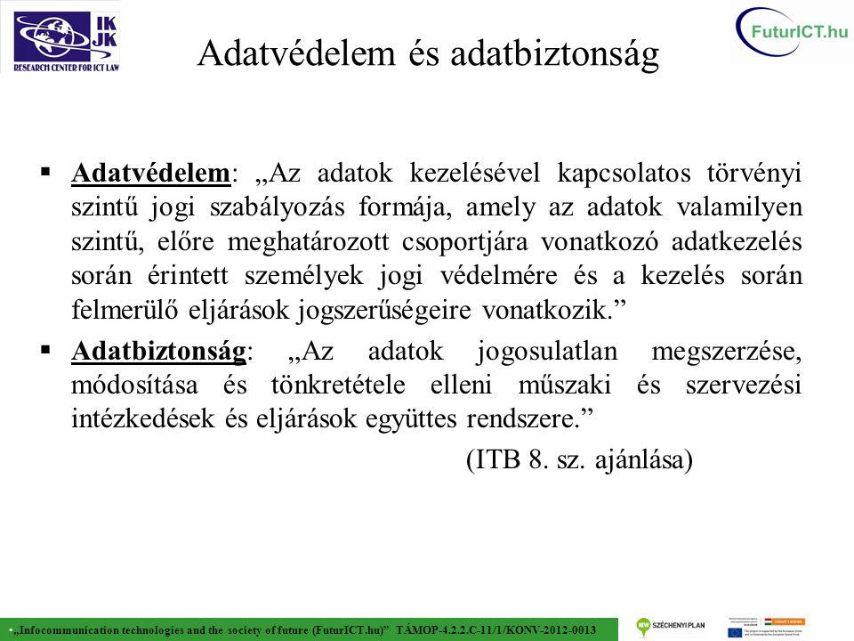 """""""Infocommunication technologies and the society of future (FuturICT.hu) TÁMOP-4.2.2.C-11/1/KONV-2012-0013 A PbD jelentősége  A személyiségvédelem alapvető konfliktusa…  Absztrakt elvek és jogi követelmények  Valódi, ténylegesen működő adatkezelő rendszer  … és a feloldási lehetőségek."""
