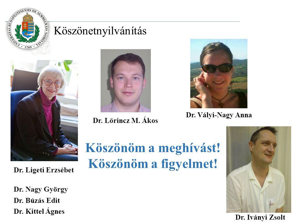 Köszönetnyilvánítás Dr. Búzás Edit Dr. Nagy György Dr.