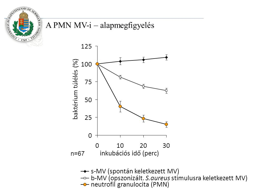 A PMN MV-i – alapmegfigyelés 0 25 50 75 100 125 0102030 inkubációs idő (perc) baktérium túlélés (%) s-MV (spontán keletkezett MV) b-MV (opszonizált.