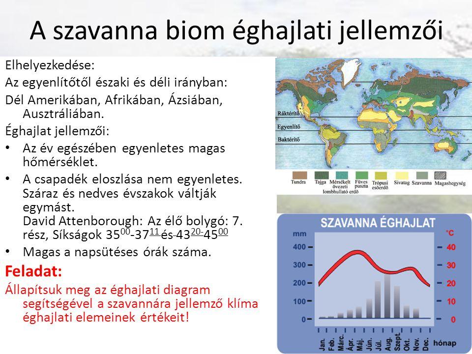 A szavanna biom éghajlati jellemzői Elhelyezkedése: Az egyenlítőtől északi és déli irányban: Dél Amerikában, Afrikában, Ázsiában, Ausztráliában. Éghaj