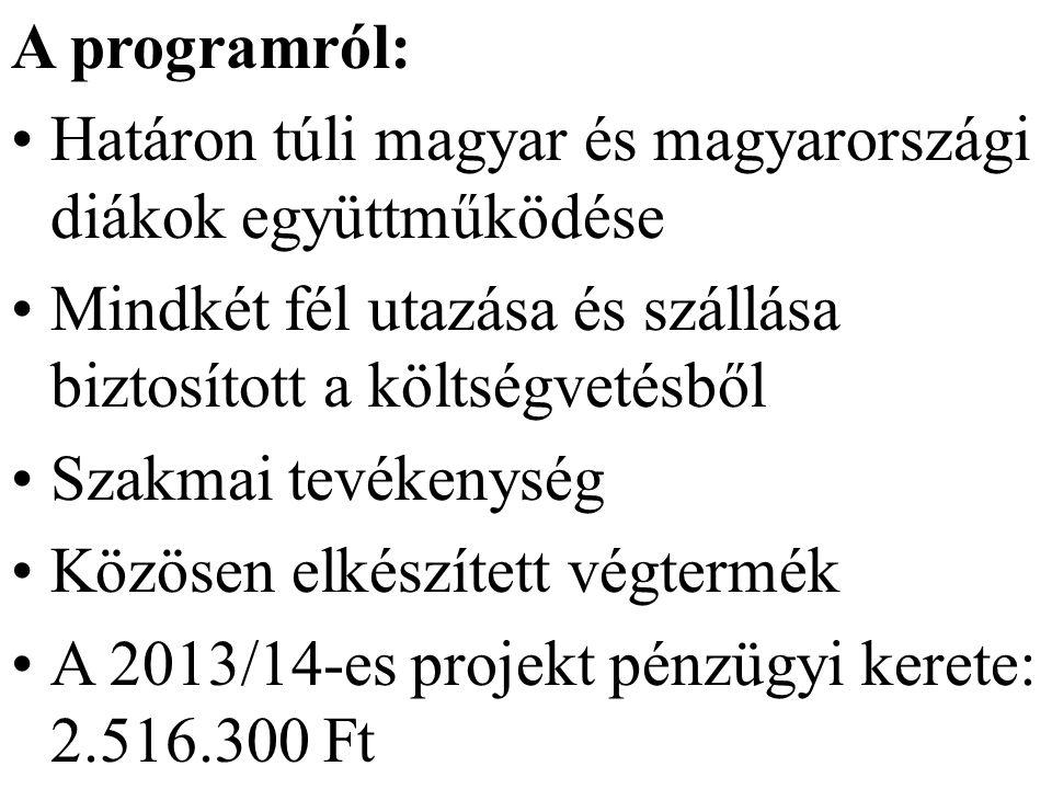 A programról: Határon túli magyar és magyarországi diákok együttműködése Mindkét fél utazása és szállása biztosított a költségvetésből Szakmai tevékenység Közösen elkészített végtermék A 2013/14-es projekt pénzügyi kerete: 2.516.300 Ft