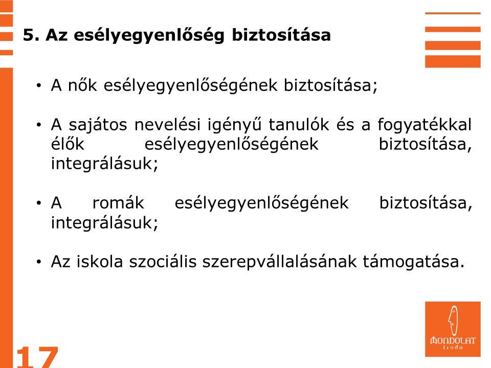 5. Az esélyegyenlőség biztosítása A nők esélyegyenlőségének biztosítása; A sajátos nevelési igényű tanulók és a fogyatékkal élők esélyegyenlőségének b