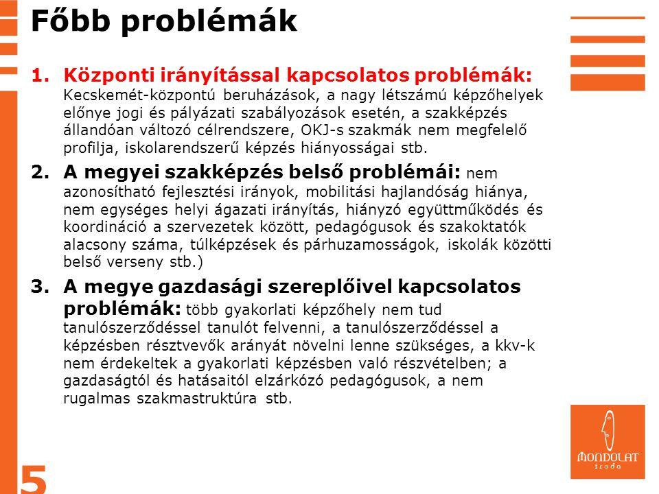 Főbb problémák 1.Központi irányítással kapcsolatos problémák: Kecskemét-központú beruházások, a nagy létszámú képzőhelyek előnye jogi és pályázati sza
