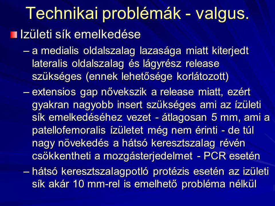 Technikai problémák - valgus. Izületi sík emelkedése –a medialis oldalszalag lazasága miatt kiterjedt lateralis oldalszalag és lágyrész release szüksé