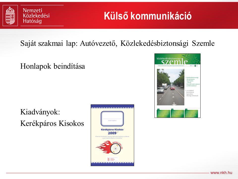 Külső kommunikáció Saját szakmai lap: Autóvezető, Közlekedésbiztonsági Szemle Honlapok beindítása Kiadványok: Kerékpáros Kisokos