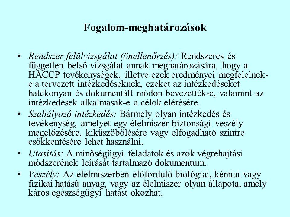 Fogalom-meghatározások Rendszer felülvizsgálat (önellenőrzés): Rendszeres és független belső vizsgálat annak meghatározására, hogy a HACCP tevékenység