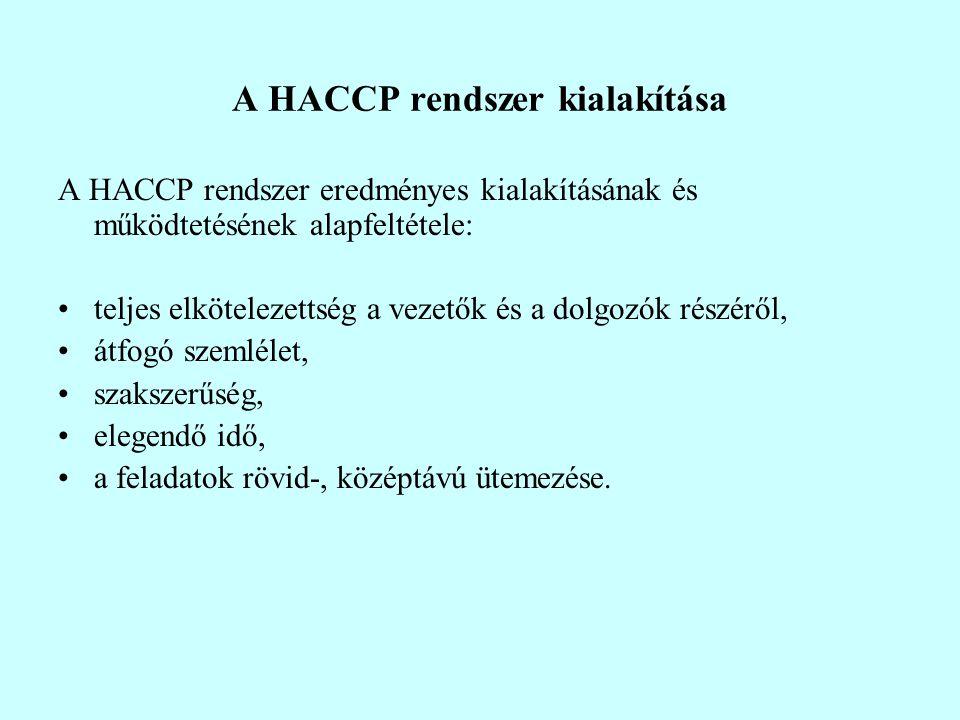 A HACCP rendszer kialakítása A HACCP rendszer eredményes kialakításának és működtetésének alapfeltétele: teljes elkötelezettség a vezetők és a dolgozók részéről, átfogó szemlélet, szakszerűség, elegendő idő, a feladatok rövid-, középtávú ütemezése.