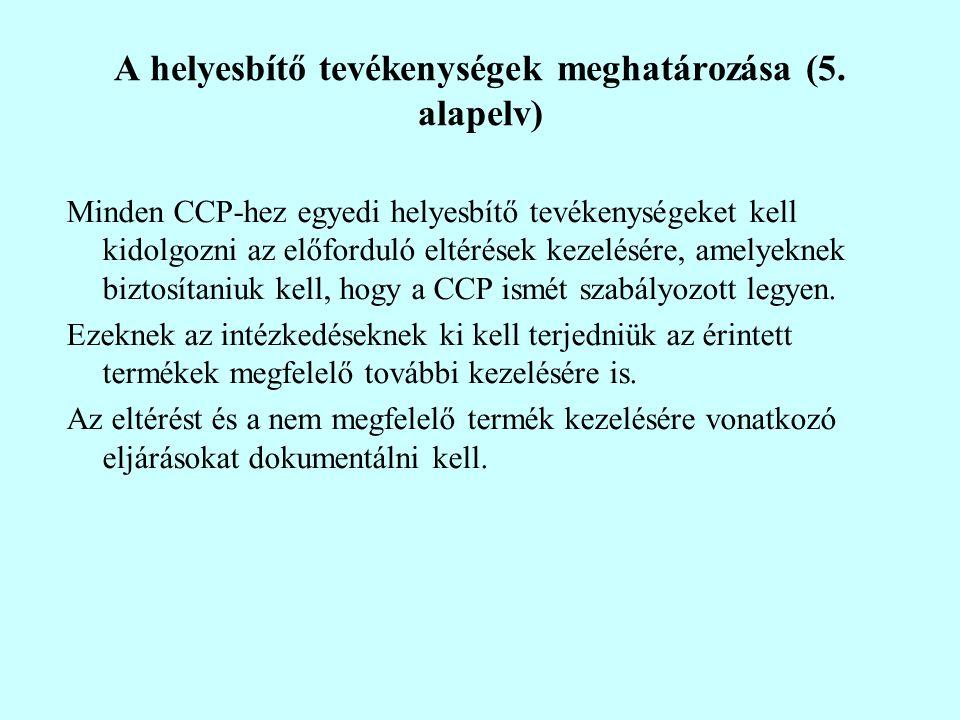 A helyesbítő tevékenységek meghatározása (5. alapelv) Minden CCP-hez egyedi helyesbítő tevékenységeket kell kidolgozni az előforduló eltérések kezelés