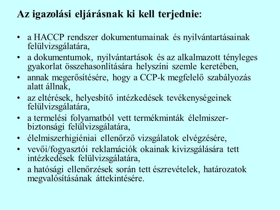 Az igazolási eljárásnak ki kell terjednie : a HACCP rendszer dokumentumainak és nyilvántartásainak felülvizsgálatára, a dokumentumok, nyilvántartások