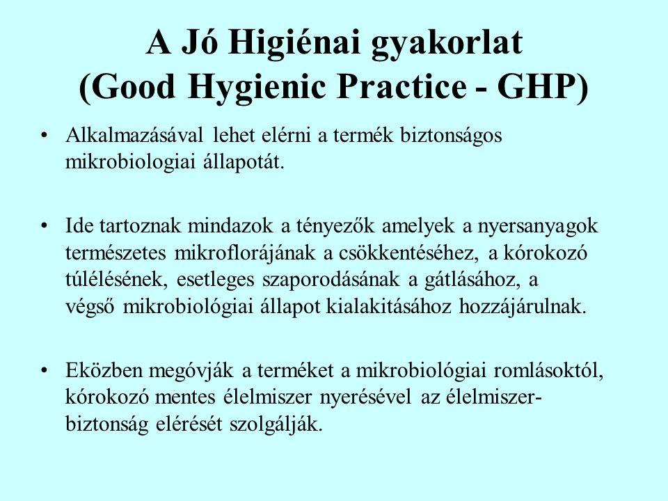 A Jó Higiénai gyakorlat (Good Hygienic Practice - GHP) Alkalmazásával lehet elérni a termék biztonságos mikrobiologiai állapotát.