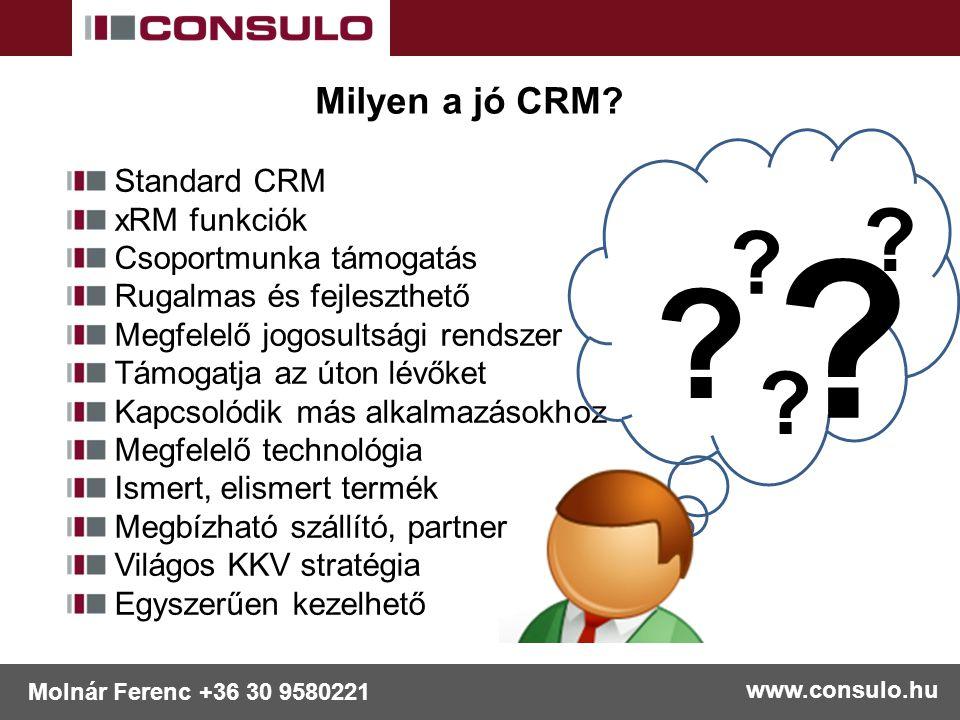 www.consulo.hu Molnár Ferenc +36 30 9580221 Milyen a jó CRM? Standard CRM xRM funkciók Csoportmunka támogatás Rugalmas és fejleszthető Megfelelő jogos