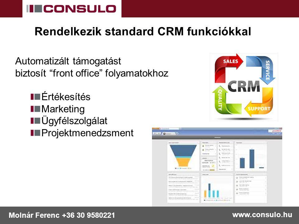 """www.consulo.hu Molnár Ferenc +36 30 9580221 Rendelkezik standard CRM funkciókkal Automatizált támogatást biztosít """"front office"""" folyamatokhoz Értékes"""