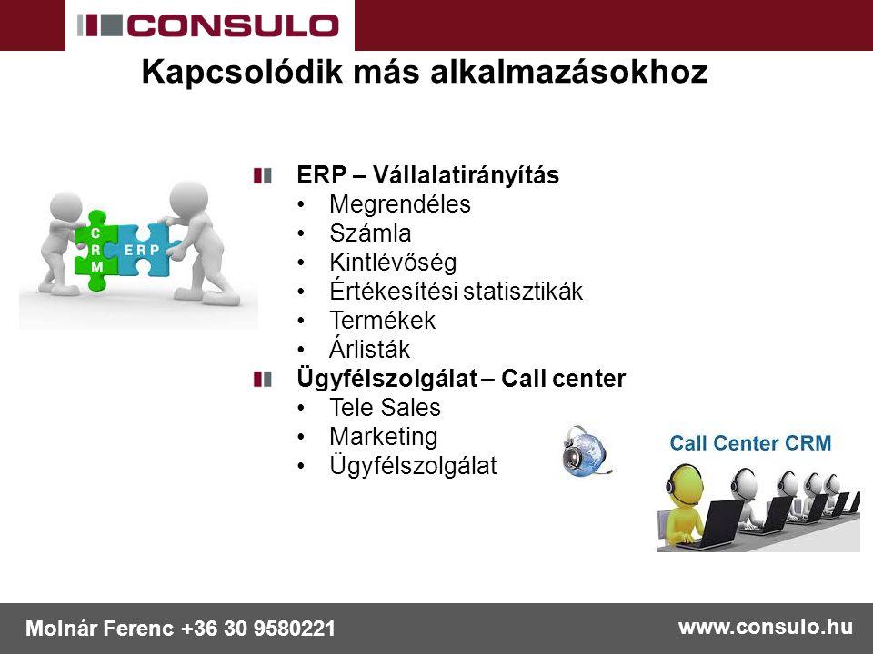 www.consulo.hu Molnár Ferenc +36 30 9580221 Kapcsolódik más alkalmazásokhoz ERP – Vállalatirányítás Megrendéles Számla Kintlévőség Értékesítési statis