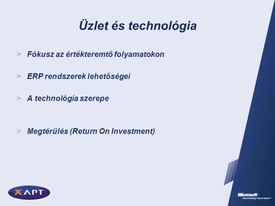 Üzlet és technológia  Fókusz az értékteremtő folyamatokon  ERP rendszerek lehetőségei  A technológia szerepe  Megtérülés (Return On Investment)