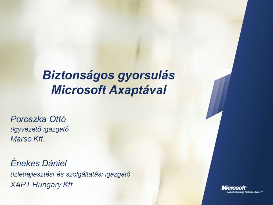 Biztonságos gyorsulás Microsoft Axaptával Poroszka Ottó ügyvezető igazgató Marso Kft. Énekes Dániel üzletfejlesztési és szolgáltatási igazgató XAPT Hu