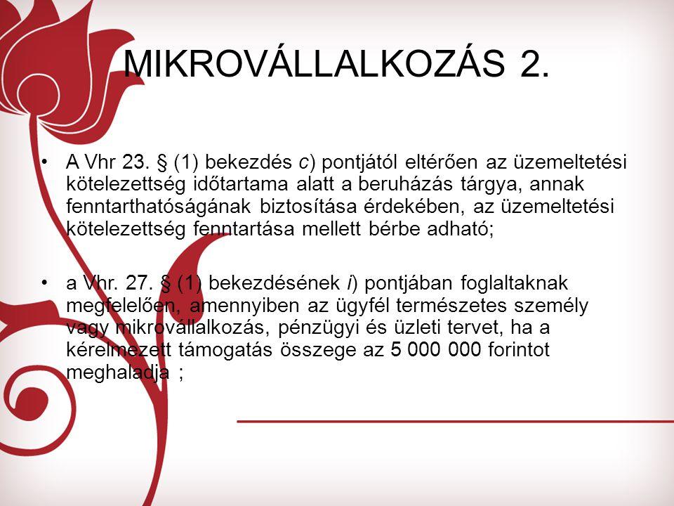 MIKROVÁLLALKOZÁS 2. A Vhr 23.