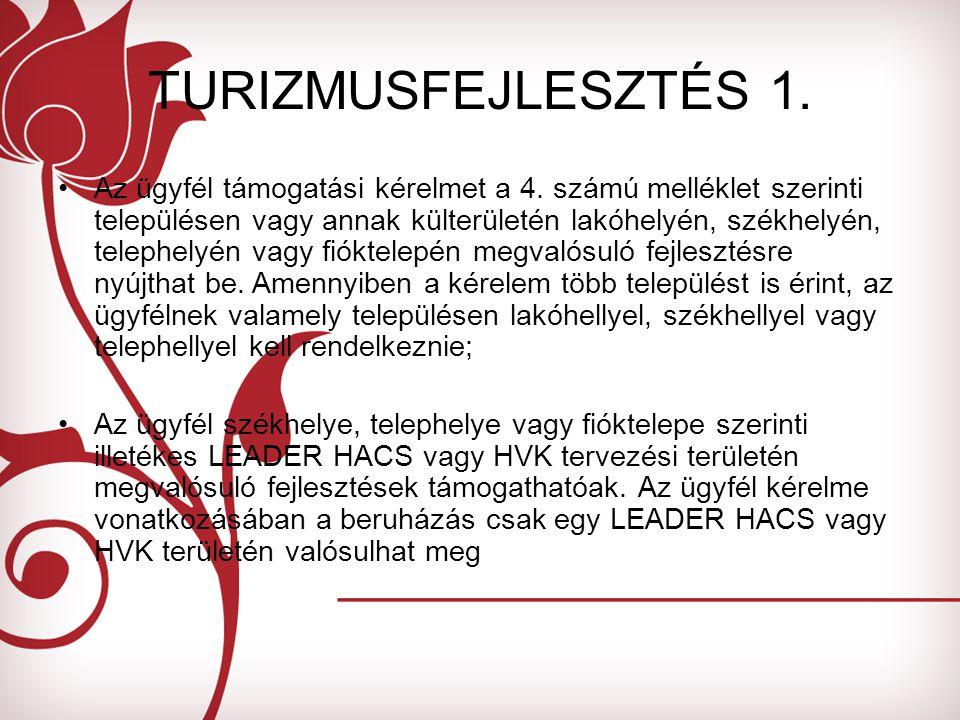 TURIZMUSFEJLESZTÉS 1. Az ügyfél támogatási kérelmet a 4.