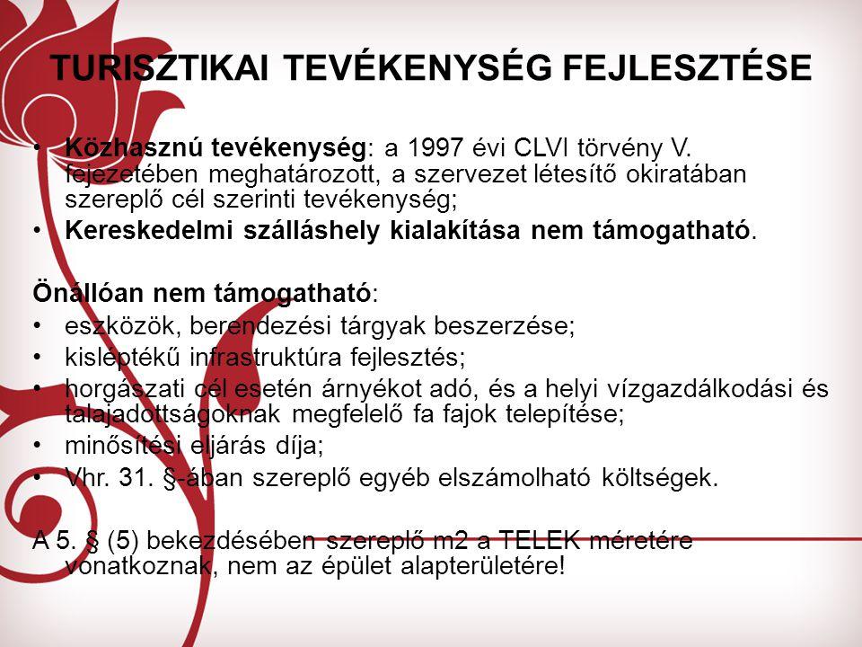Közhasznú tevékenység: a 1997 évi CLVI törvény V.