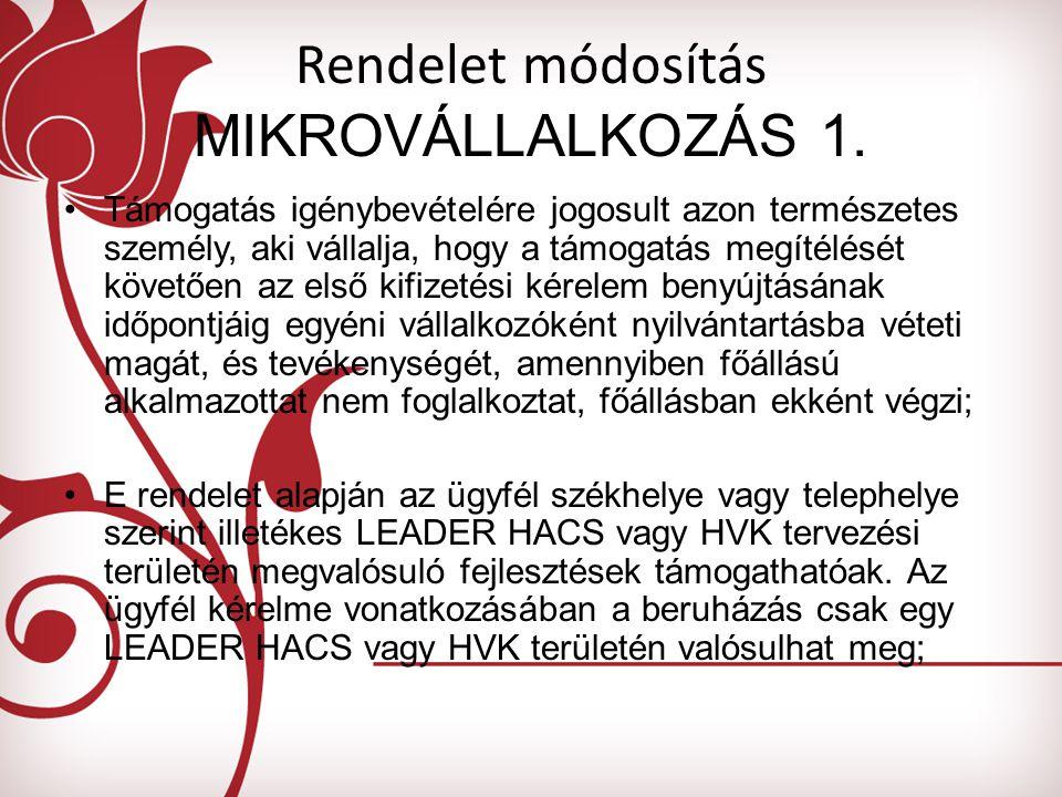 Rendelet módosítás MIKROVÁLLALKOZÁS 1.