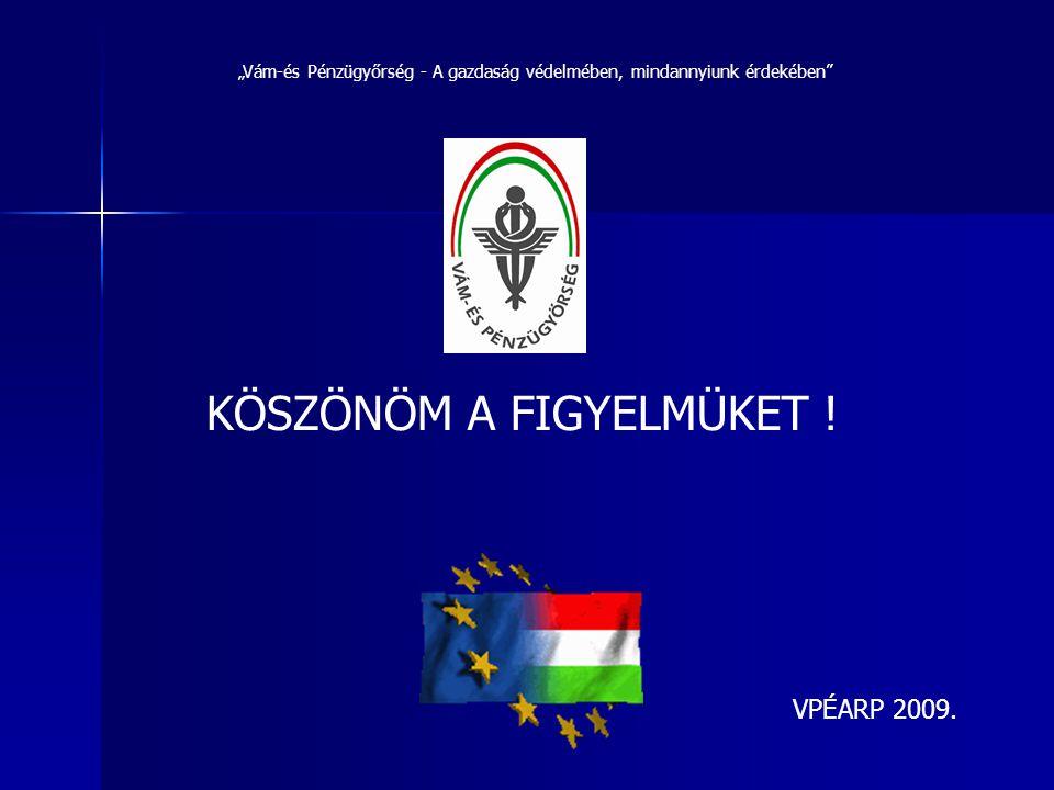 """KÖSZÖNÖM A FIGYELMÜKET ! """"Vám-és Pénzügyőrség - A gazdaság védelmében, mindannyiunk érdekében"""" VPÉARP 2009."""