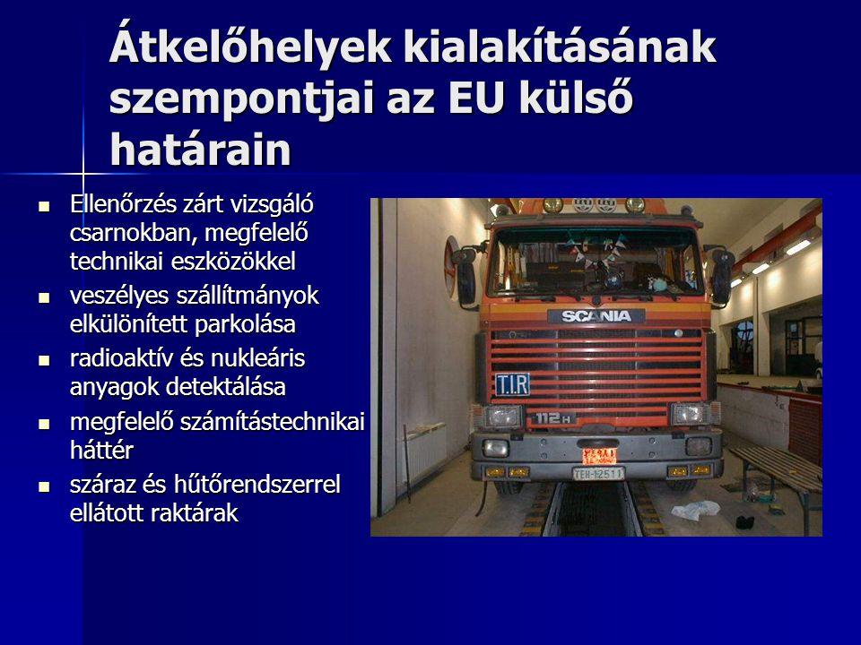 Átkelőhelyek kialakításának szempontjai az EU külső határain tengelysúlymérő állomások álljanak rendelkezésre tengelysúlymérő állomások álljanak rendelkezésre növény- és állategészségügyi zárszolgálat működjön növény- és állategészségügyi zárszolgálat működjön élőállatok ellenőrzéséhez szükséges karámok álljanak rendelkezésre élőállatok ellenőrzéséhez szükséges karámok álljanak rendelkezésre